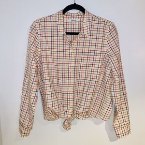 Tie-Front Shirt in Rainbow Plaid Madewell